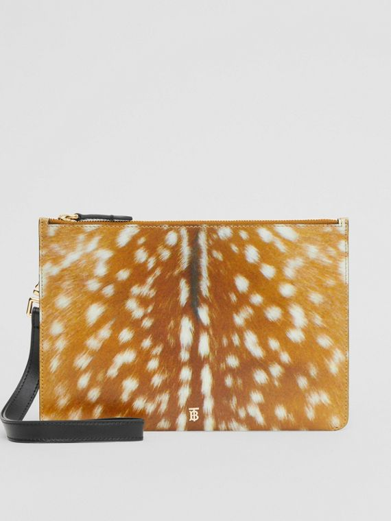 Deer Print Leather Zip Pouch in Malt Brown