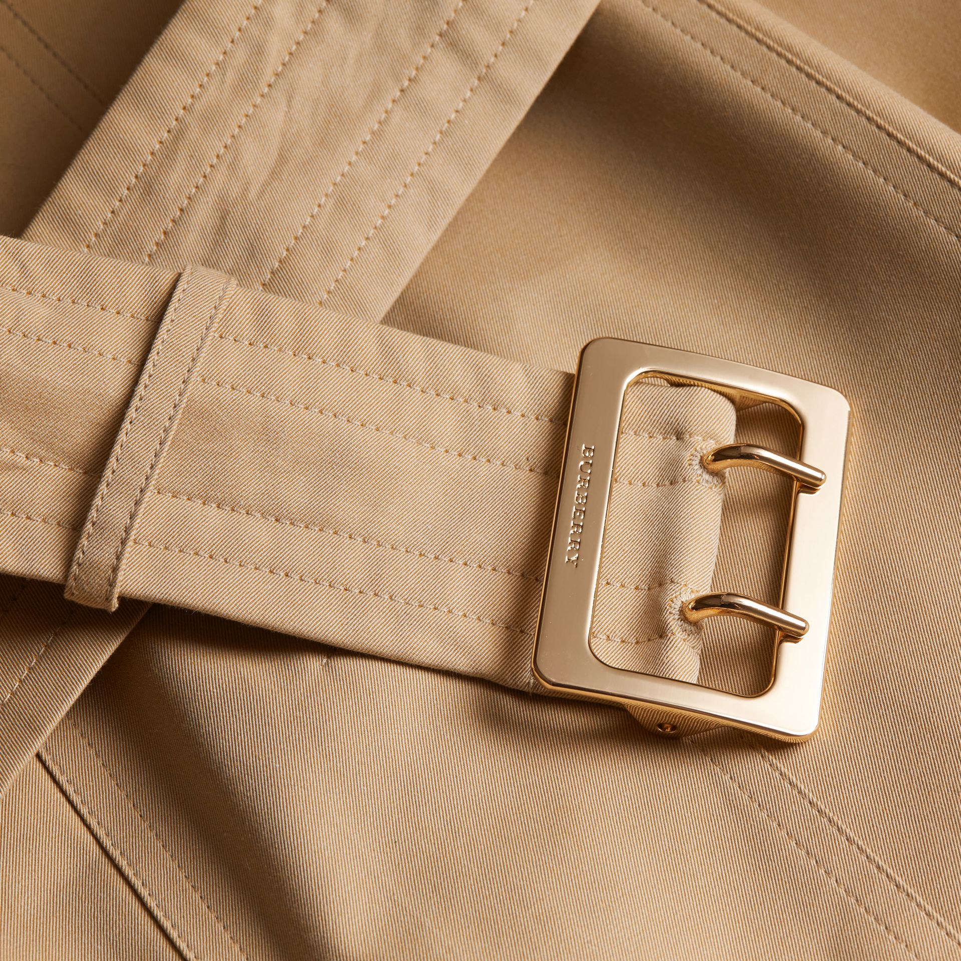 Honey Cotton Gabardine Trench Coat with Oversize Buckle Detail Honey - gallery image 2