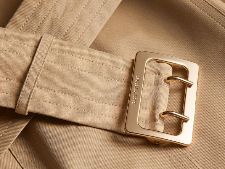 Cotton Gabardine Trench Coat with Oversize Buckle Detail in Honey - cell image 1