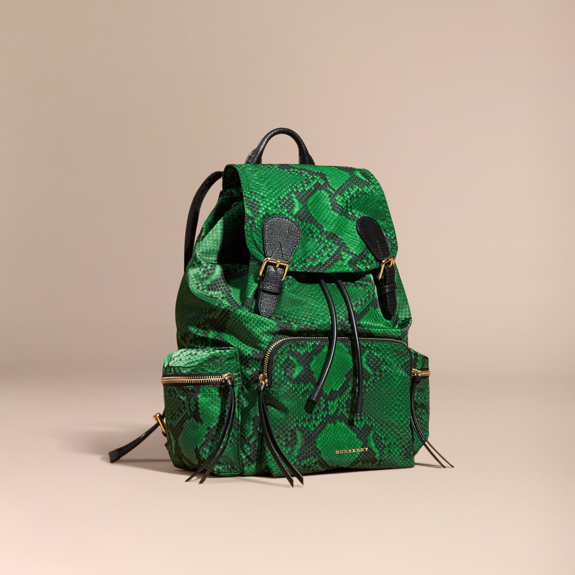 Grand sac The Rucksack en nylon à imprimé python et cuir Vert - photo de la galerie 1