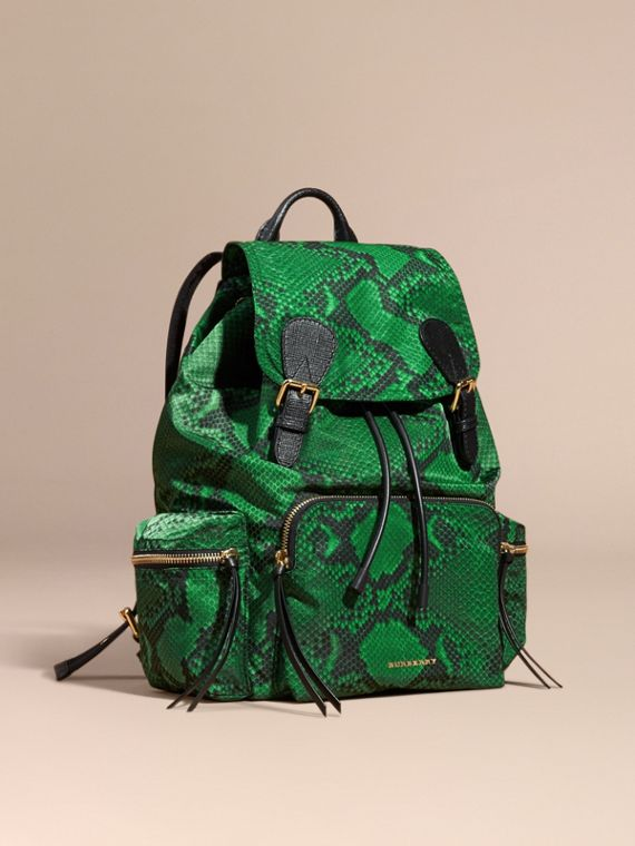 The Large Rucksack in Python Print Nylon and Leather Green