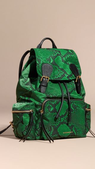 The Large Rucksack in Python Print Nylon and Leather