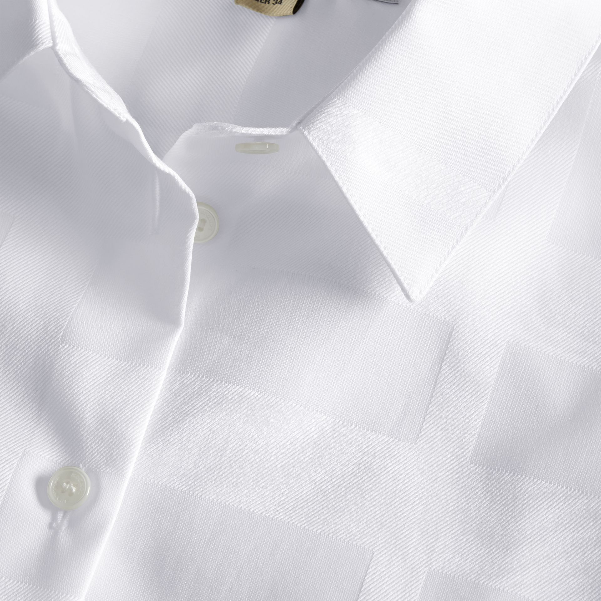 Check Jacquard Cotton Shirt White - gallery image 2