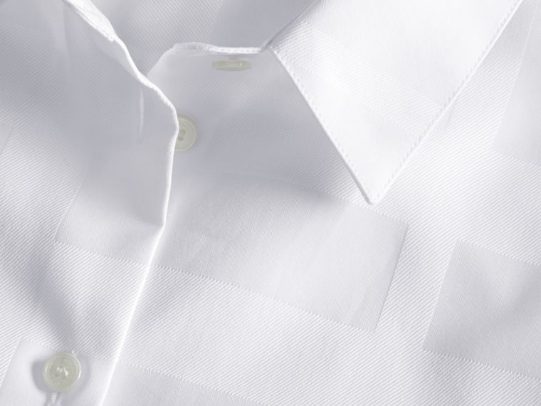 Check Jacquard Cotton Shirt in White - cell image 1