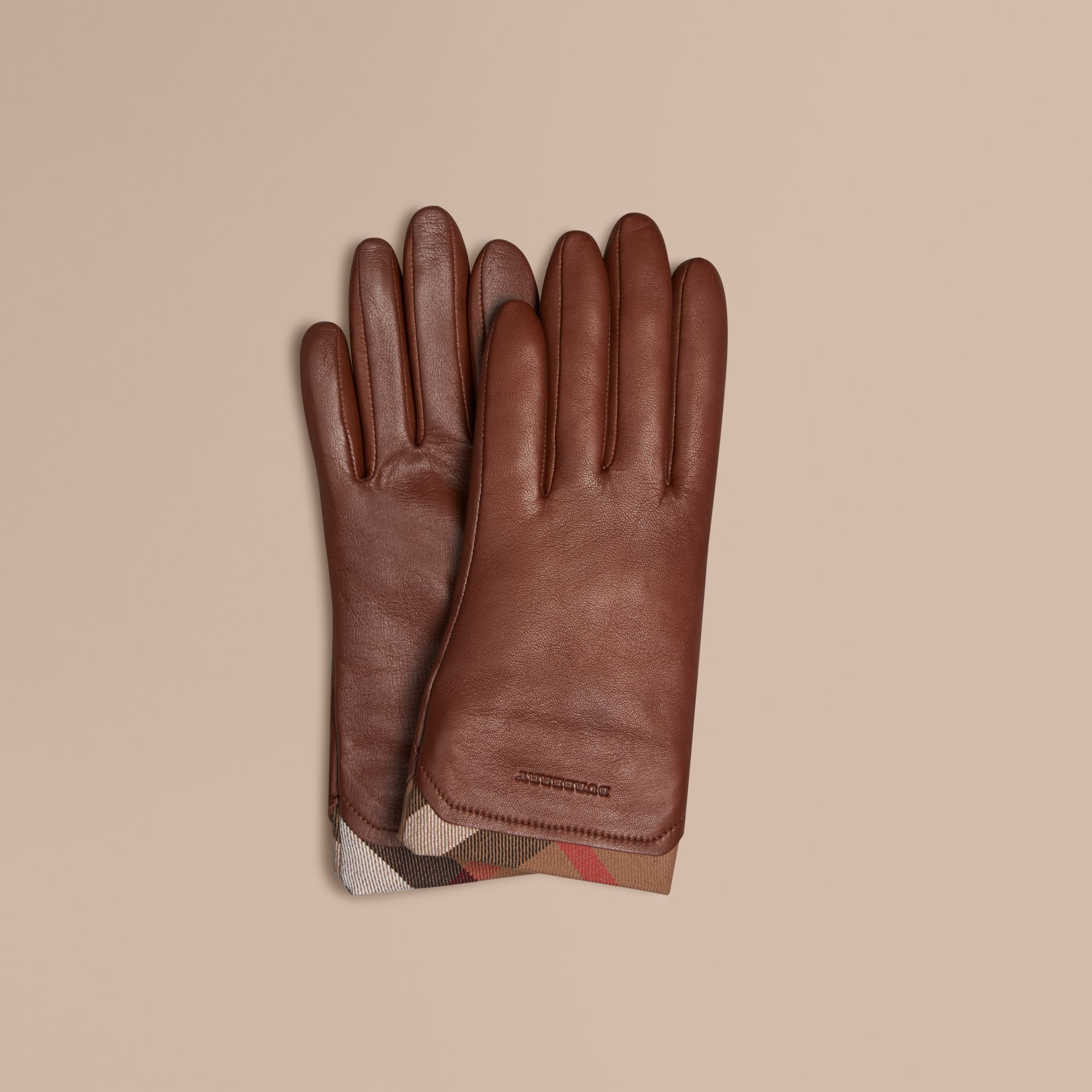 Check Trim Leather Touch Screen Gloves in Saddle Brown - gallery image 1