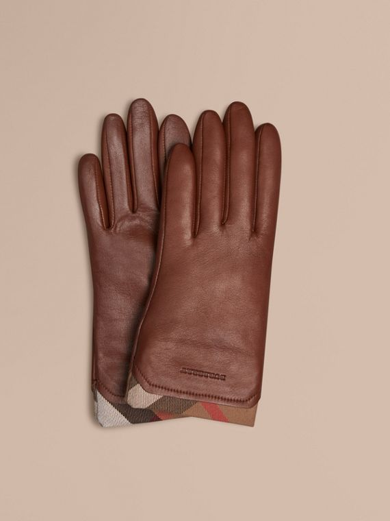 Check Trim Leather Gloves Saddle Brown