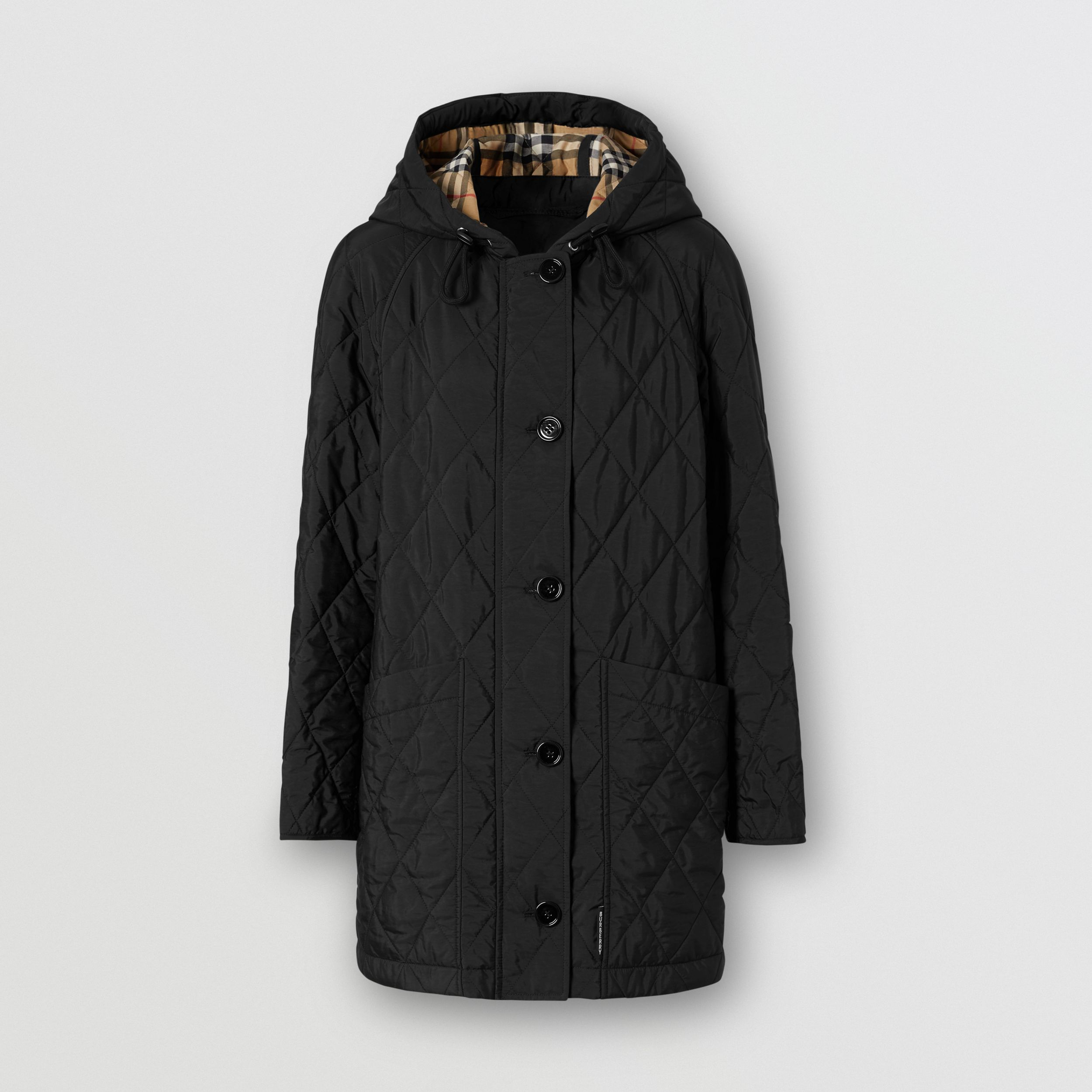 Diamond Quilted Thermoregulated Hooded Coat in Black - Women | Burberry - 4