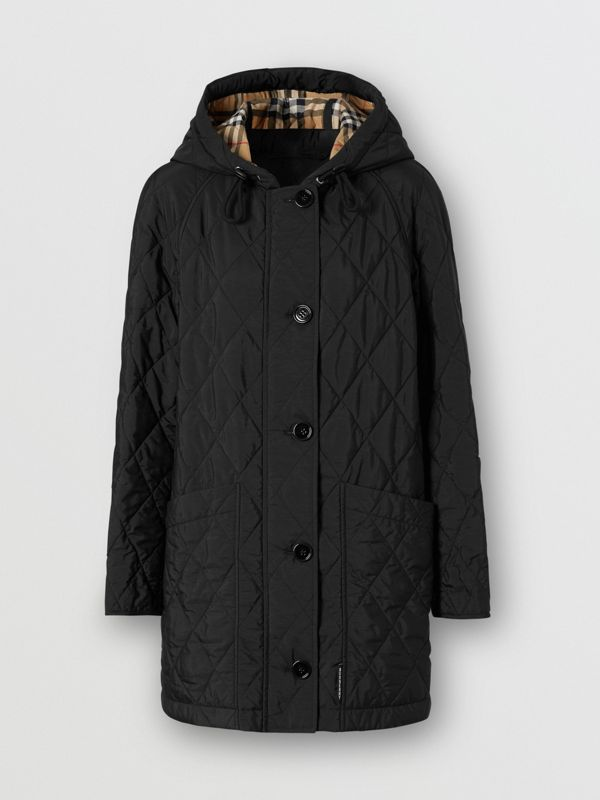 Diamond Quilted Thermoregulated Hooded Coat in Black - Women | Burberry - cell image 3
