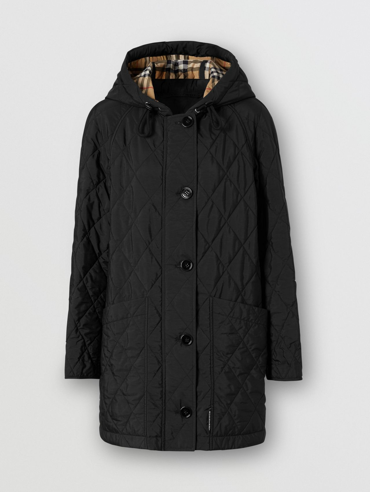 Diamond Quilted Thermoregulated Hooded Coat (Black)