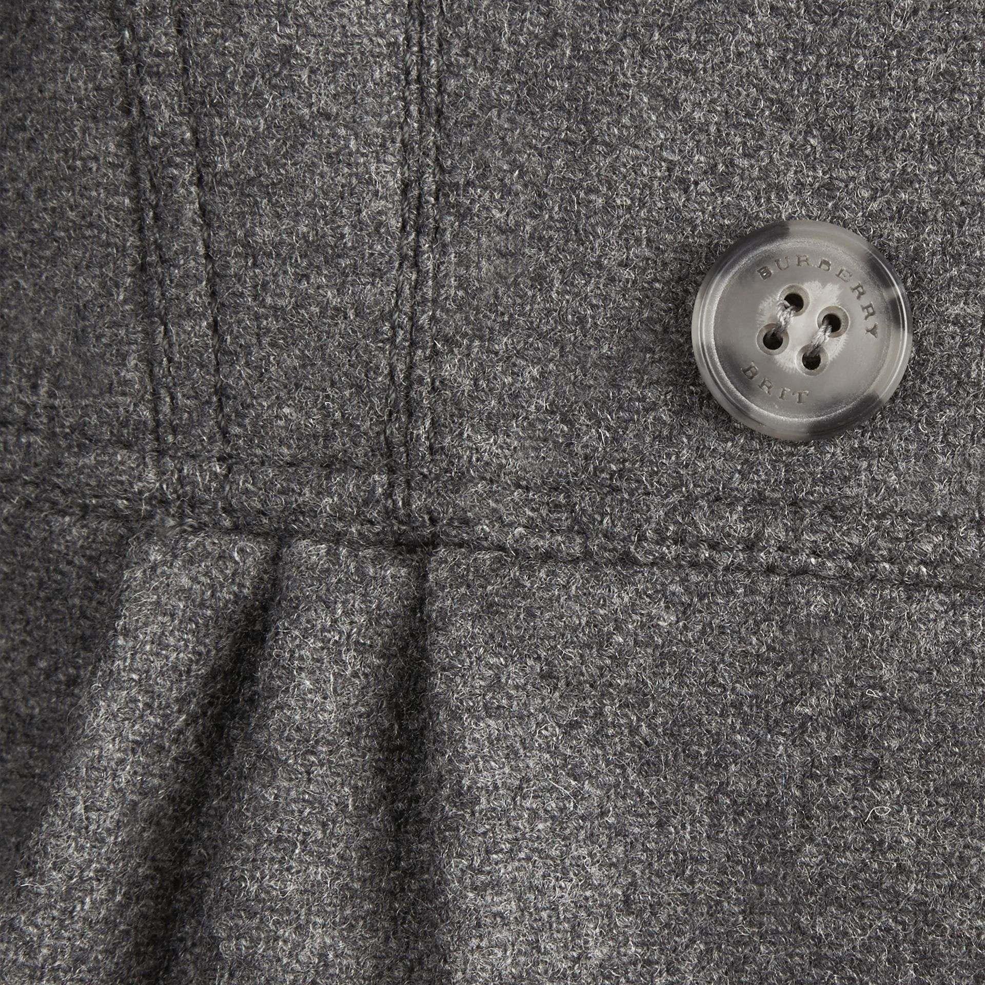 Mid grey melange Virgin Wool Cashmere Blend Military Coat Mid Grey Melange - gallery image 2