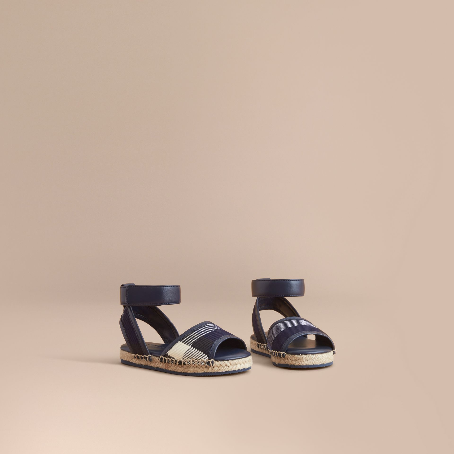 Leather Ankle Strap and House Check Espadrille Sandals in Bright Sapphire - Children | Burberry - gallery image 1