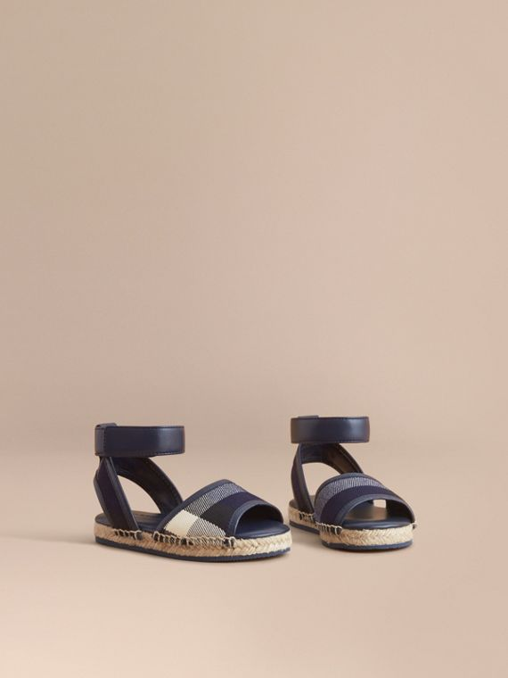 Leather Ankle Strap and House Check Espadrille Sandals in Bright Sapphire - Children | Burberry