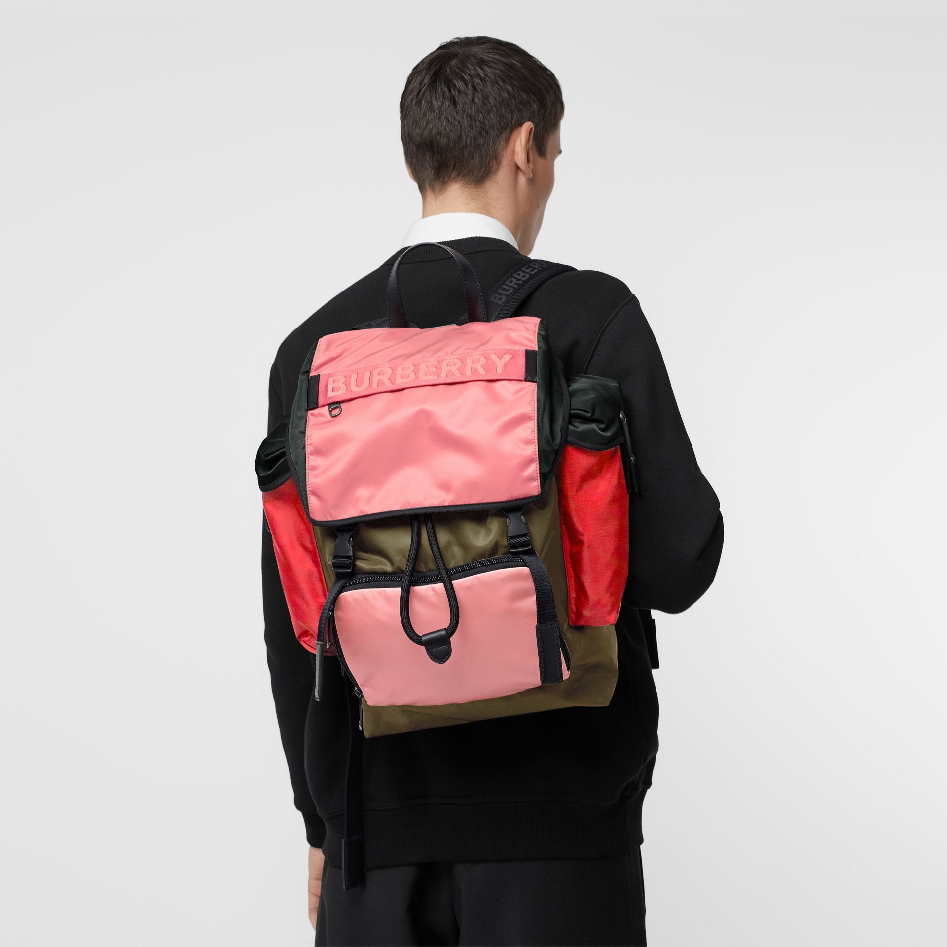 Large Leather Trim Colour Block Nylon Backpack in Multicolour | Burberry - gallery image 7