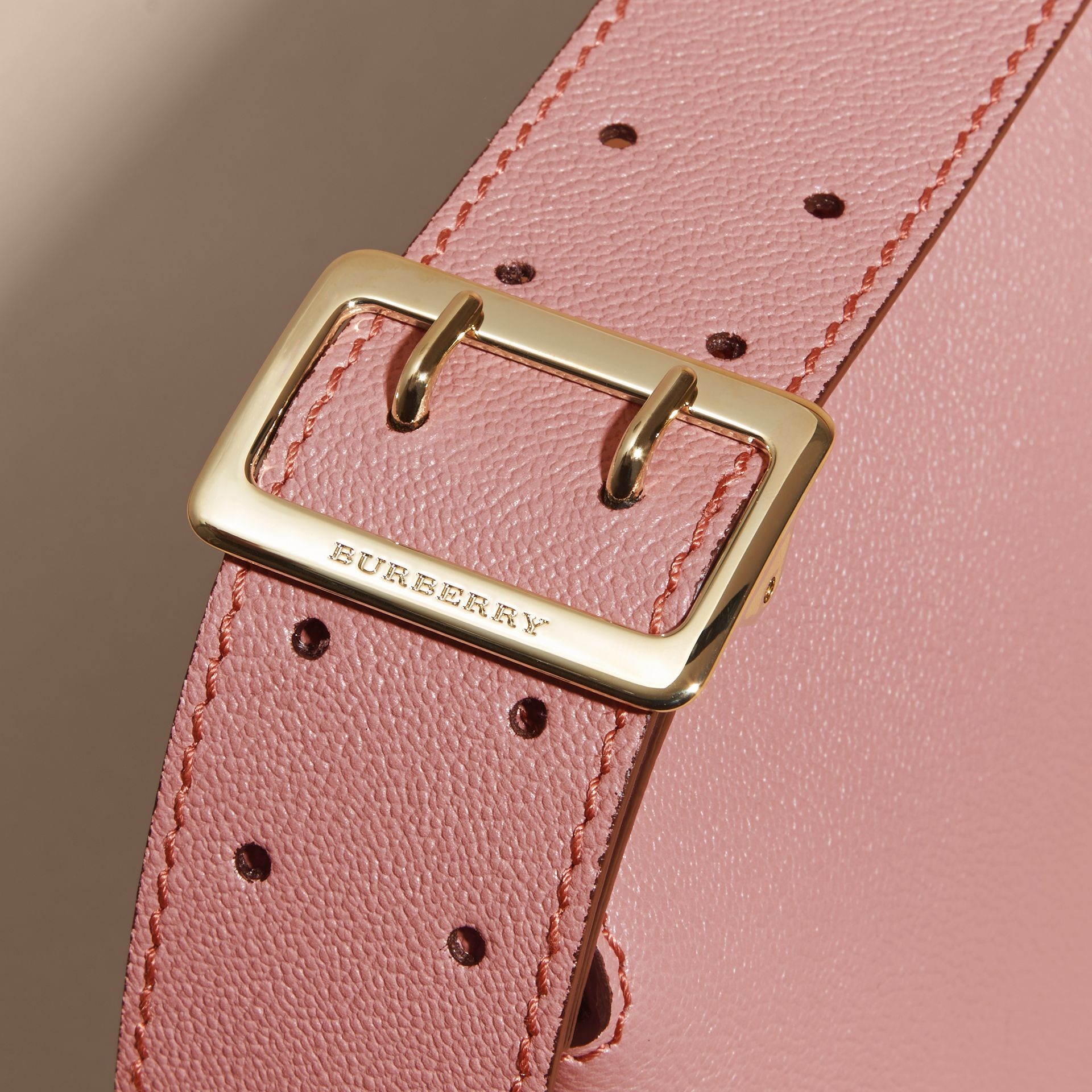 Buckle Detail Leather Crossbody Bag Dusty Pink - gallery image 2