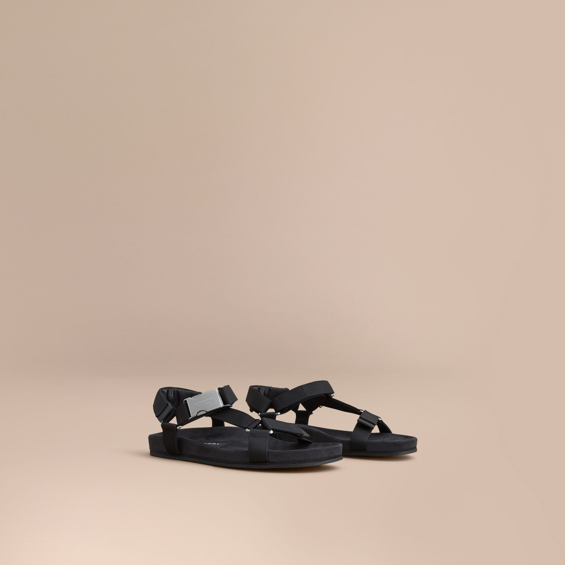 Three-point Strap Ripstop Sandals in Black - Men | Burberry - gallery image 1