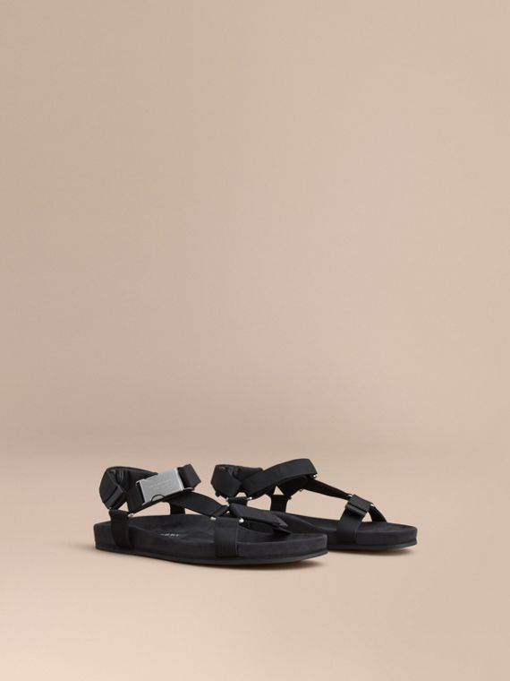 Three-point Strap Ripstop Sandals Black