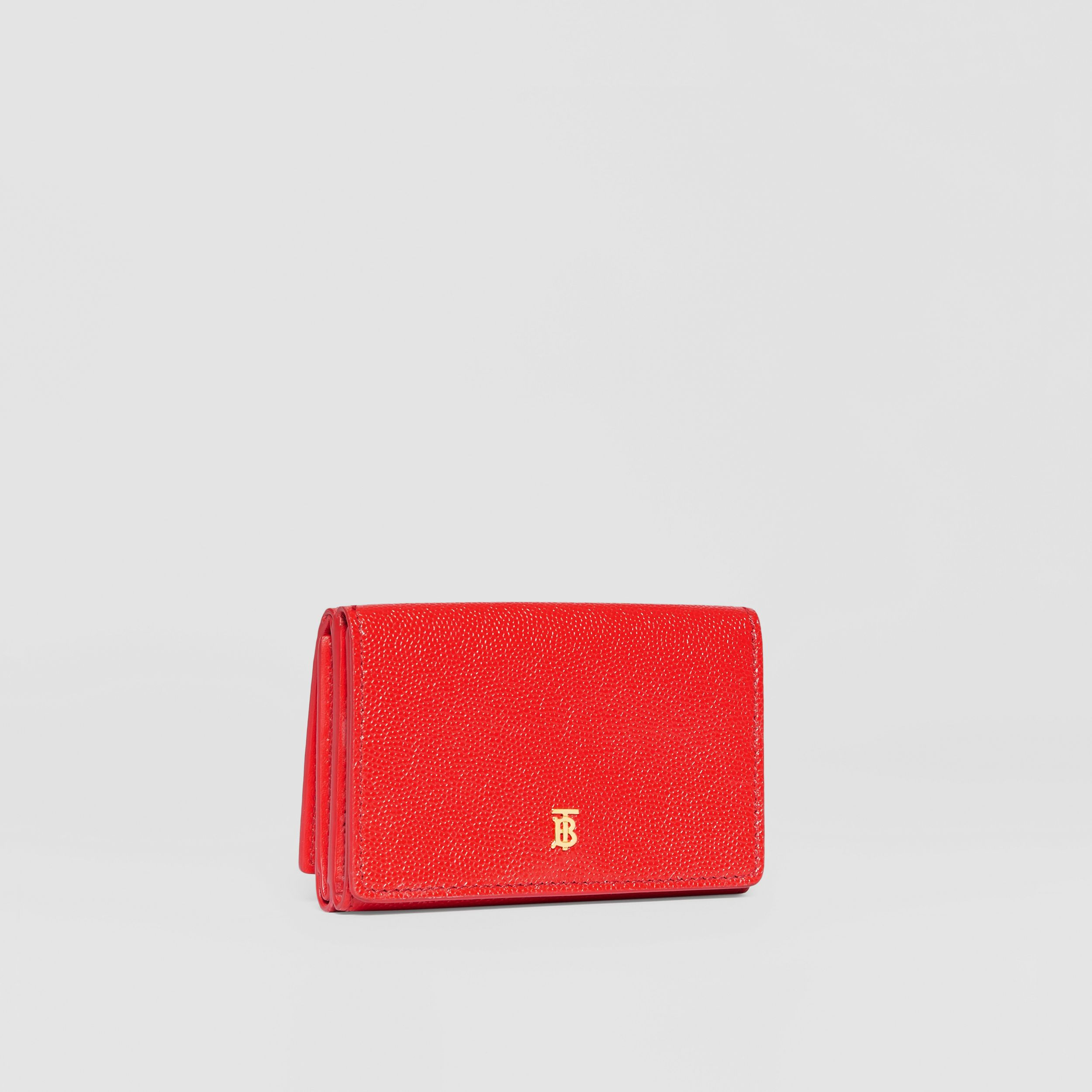 Small Grainy Leather Folding Wallet in Bright Red - Women | Burberry - 4