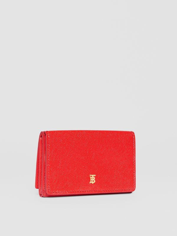 Small Grainy Leather Folding Wallet in Bright Red - Women | Burberry - cell image 3