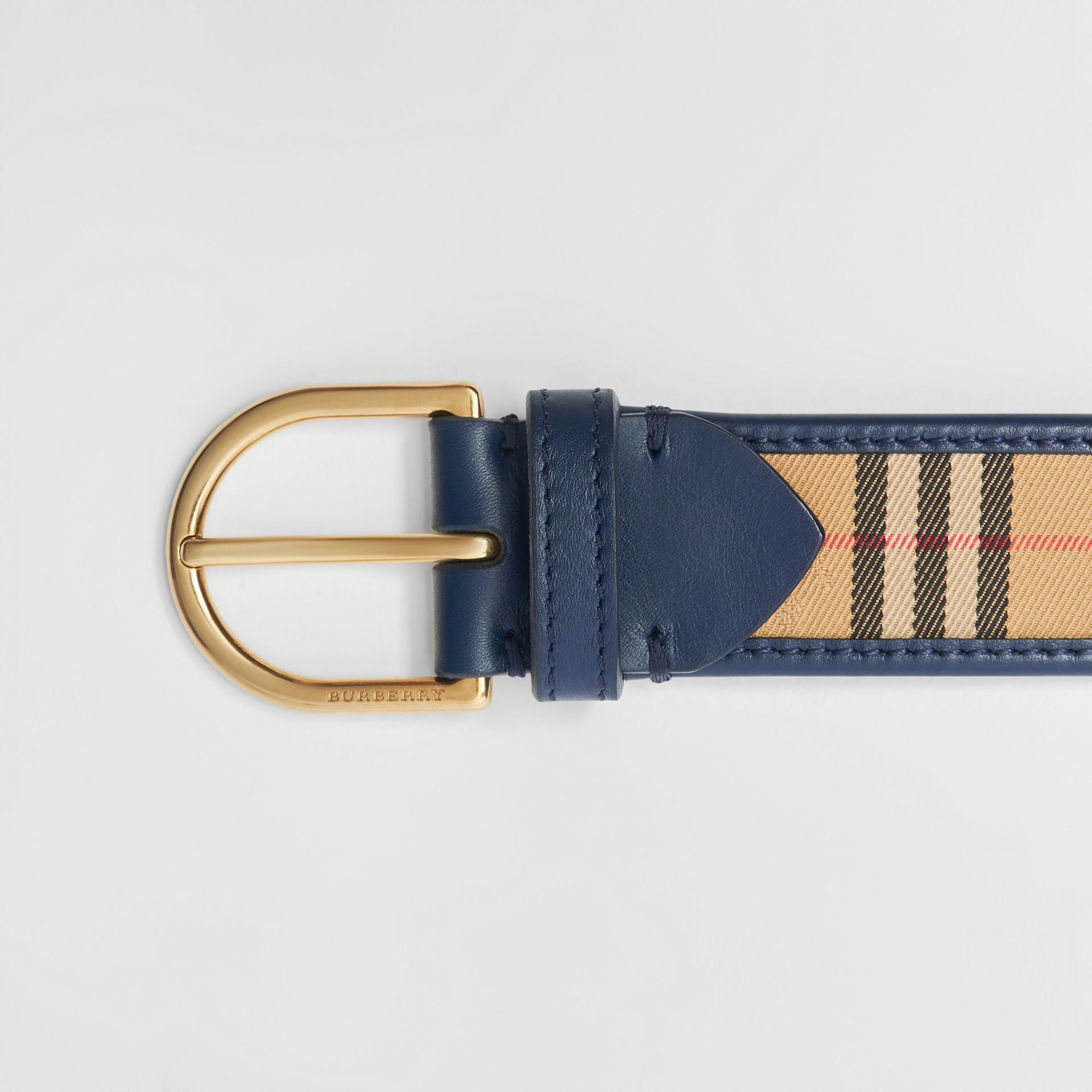 1983 Check and Leather D-ring Belt in Ink Blue - Men | Burberry Singapore - gallery image 1