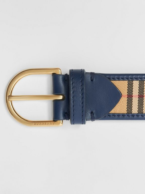1983 Check and Leather D-ring Belt in Ink Blue - Men | Burberry - cell image 1