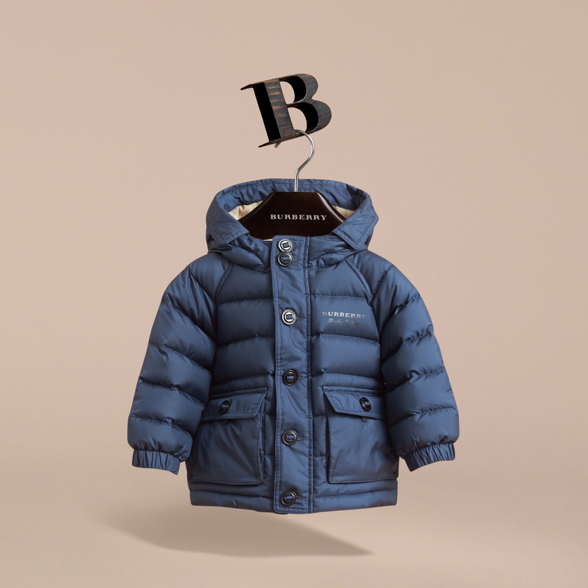 Shower-resistant Hooded Puffer Jacket in Ink Blue | Burberry - gallery image 3