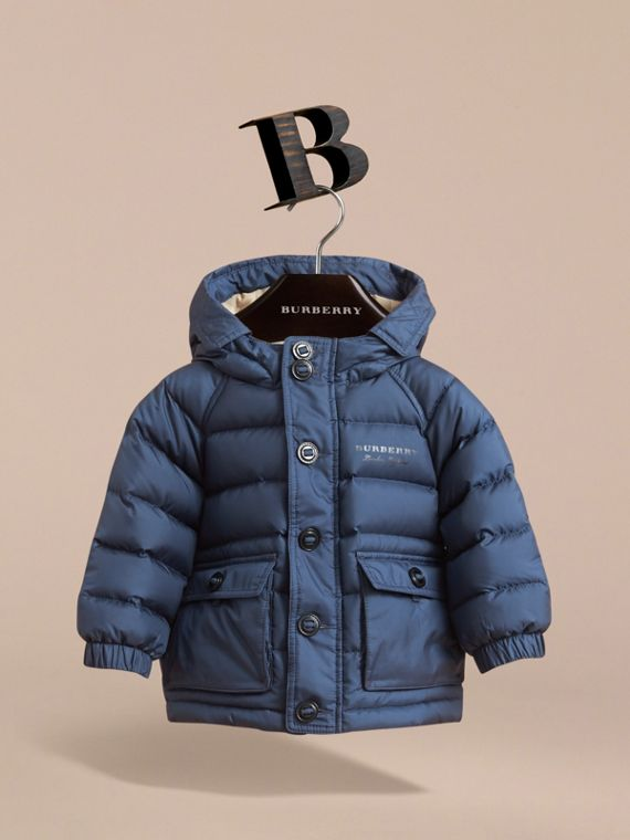 Shower-resistant Hooded Puffer Jacket in Ink Blue | Burberry Australia - cell image 2