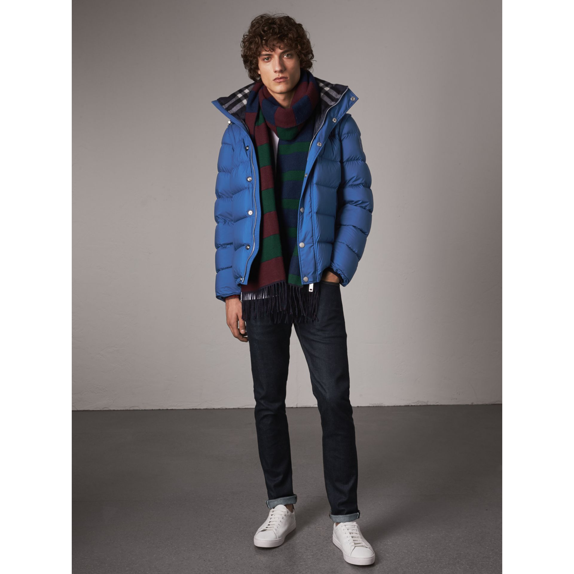 Detachable-sleeve Down-filled Puffer Jacket in Cerulean Blue - Men | Burberry Singapore - gallery image 1