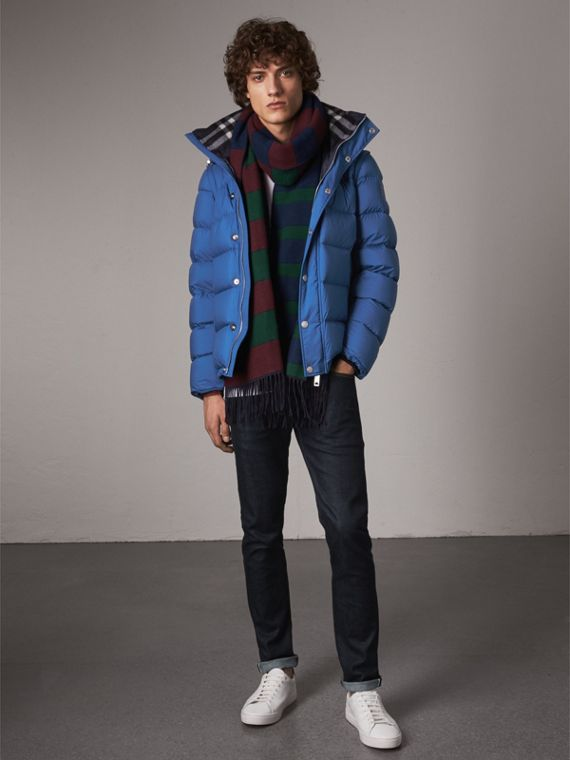 Detachable-sleeve Down-filled Puffer Jacket in Cerulean Blue