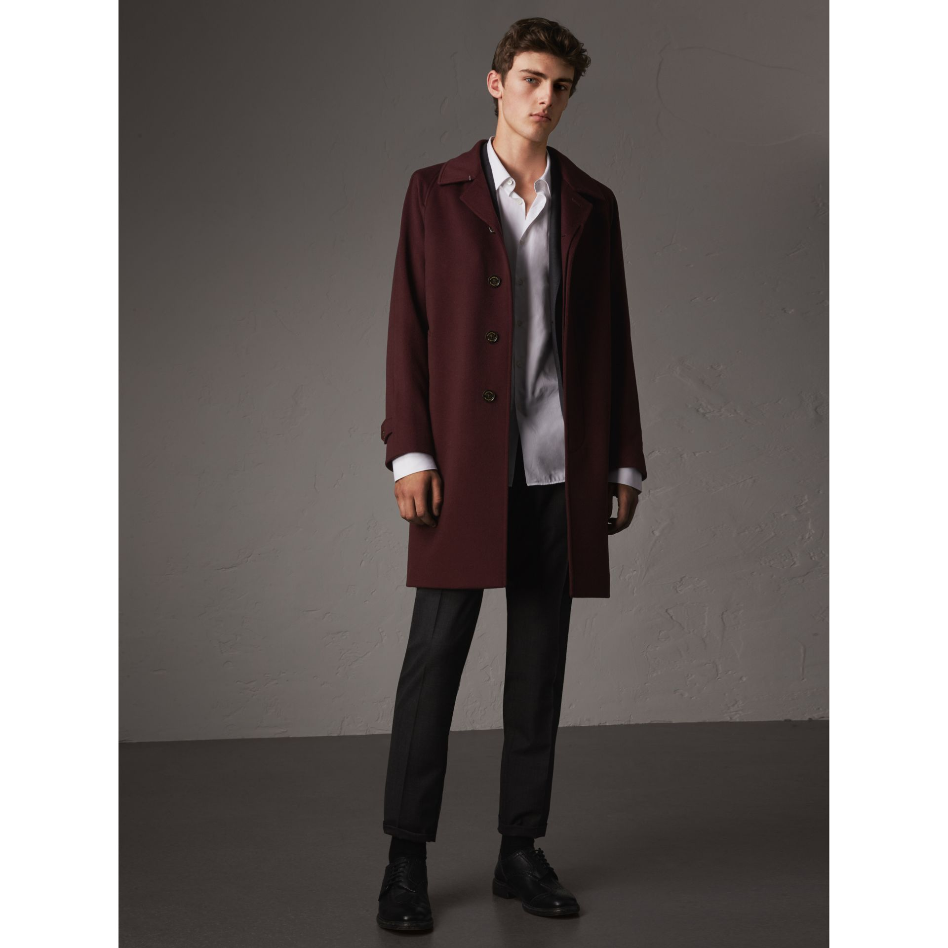 Cashmere Car Coat in Deep Claret Melange - Men | Burberry - gallery image 0
