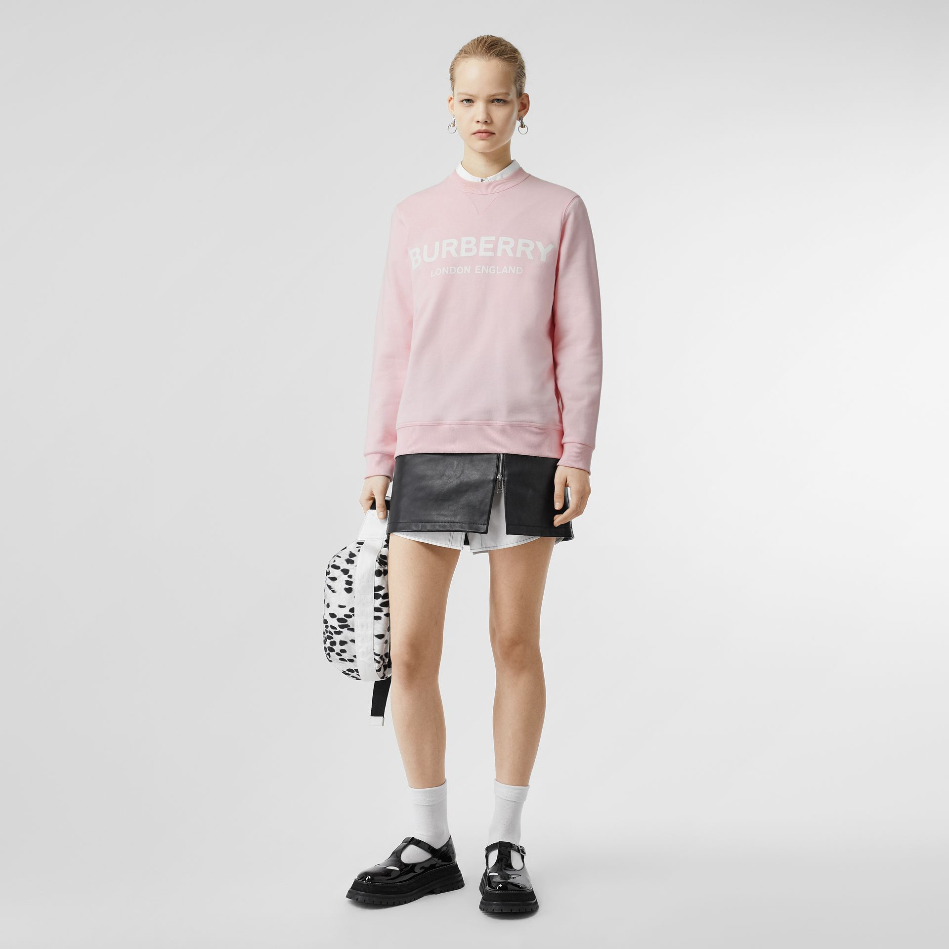 Logo Print Cotton Sweatshirt in Alabaster Pink - Women | Burberry - gallery image 0