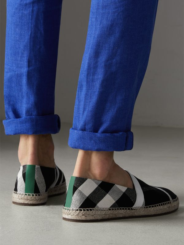 Check Cotton Canvas Seam-sealed Espadrilles in Black - Men | Burberry Canada - cell image 2