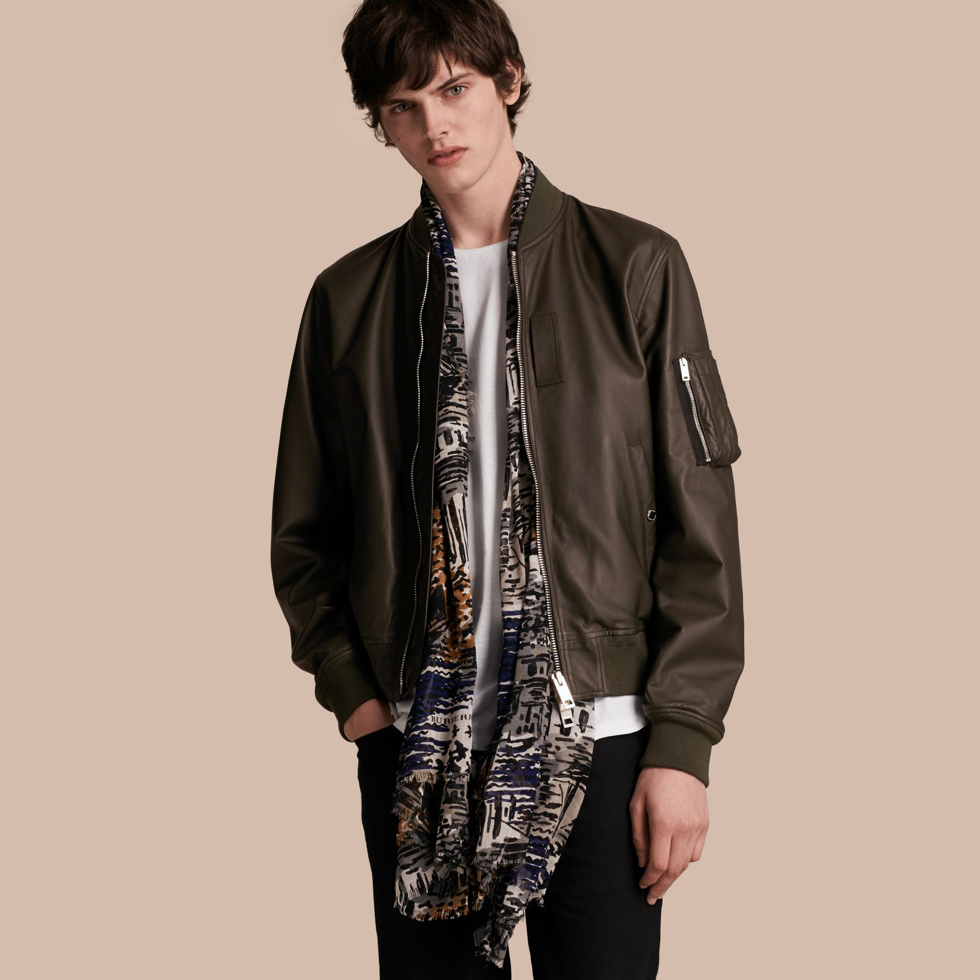 Lightweight Lambskin Bomber Jacket in Olive - gallery image 1