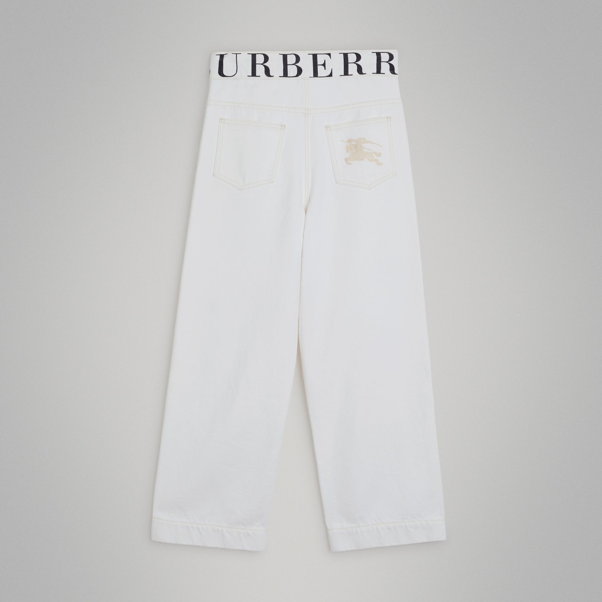 Relaxed Fit Logo Print Jeans in Natural White | Burberry United Kingdom - gallery image 3