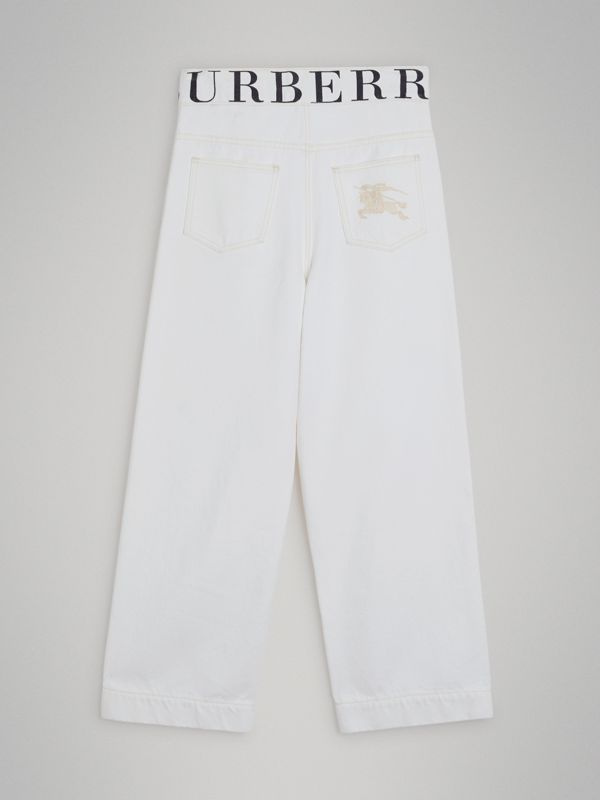 Relaxed Fit Logo Print Jeans in Natural White | Burberry United Kingdom - cell image 3