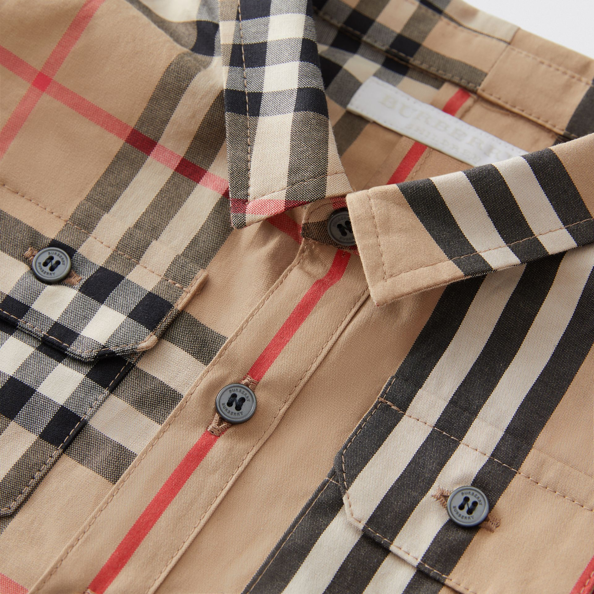 Panelled Vintage Check and Icon Stripe Cotton Shirt in Archive Beige - Children | Burberry United Kingdom - gallery image 1