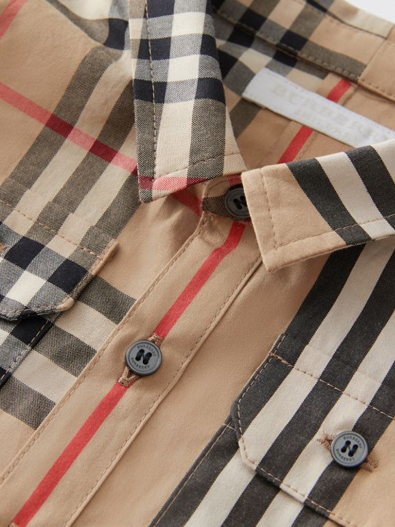 Panelled Vintage Check and Icon Stripe Cotton Shirt in Archive Beige - Children | Burberry - cell image 1