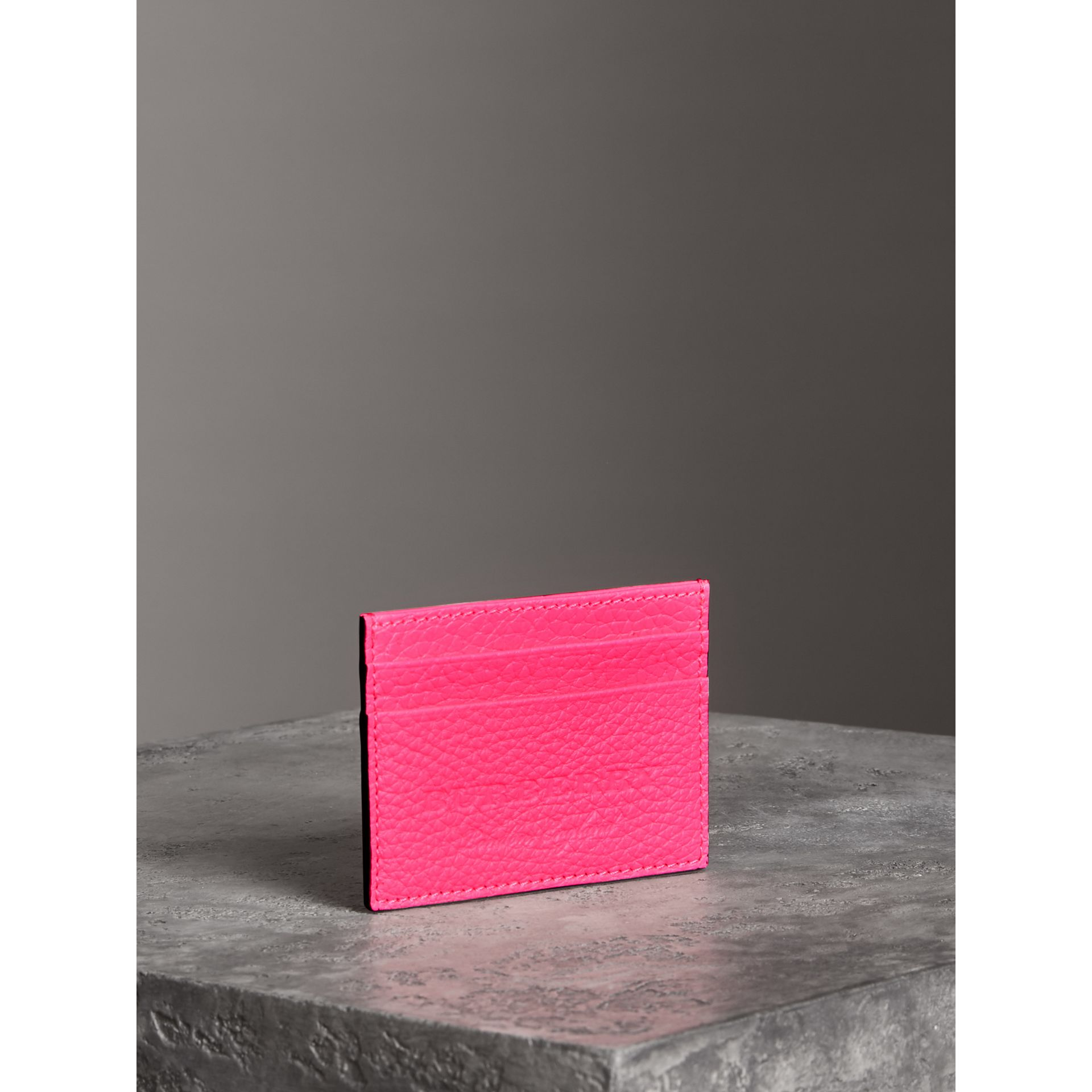 Embossed Textured Leather Card Case in Neon Pink | Burberry - gallery image 2
