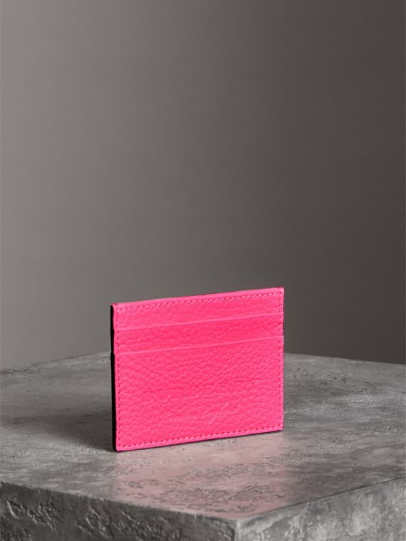 Embossed Textured Leather Card Case in Neon Pink | Burberry - cell image 2