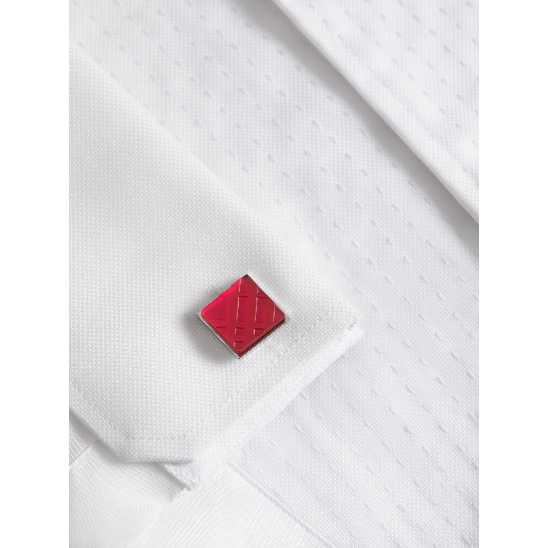 Check-engraved Square Cufflinks in Bright Pink - Men | Burberry - gallery image 2