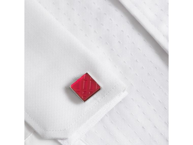 Check-engraved Square Cufflinks in Bright Pink - Men | Burberry - cell image 2