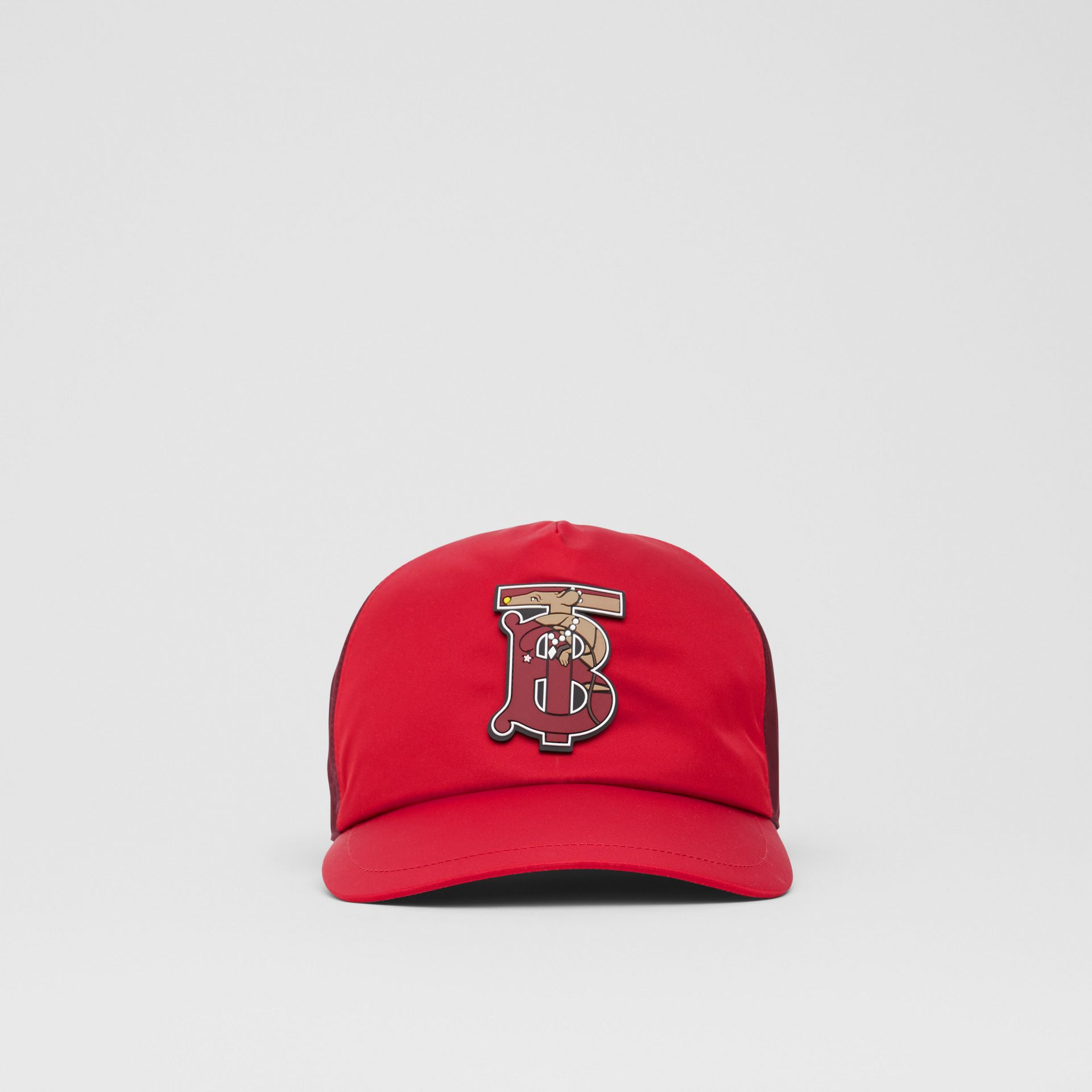 Monogram Motif Two-tone Baseball Cap in Bright Red | Burberry - gallery image 0