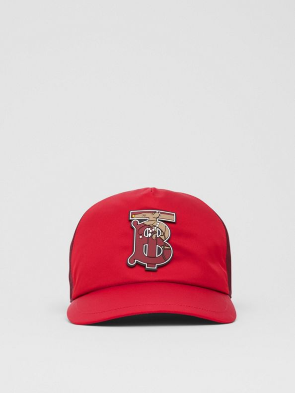 Monogram Motif Two-tone Baseball Cap in Bright Red