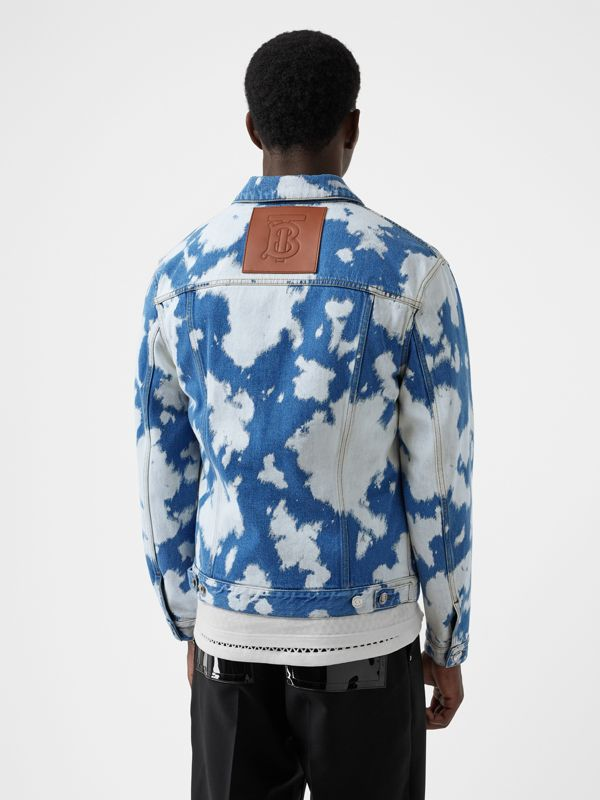 Monogram Motif Bleached Denim Jacket in Light Indigo - Men | Burberry - cell image 2