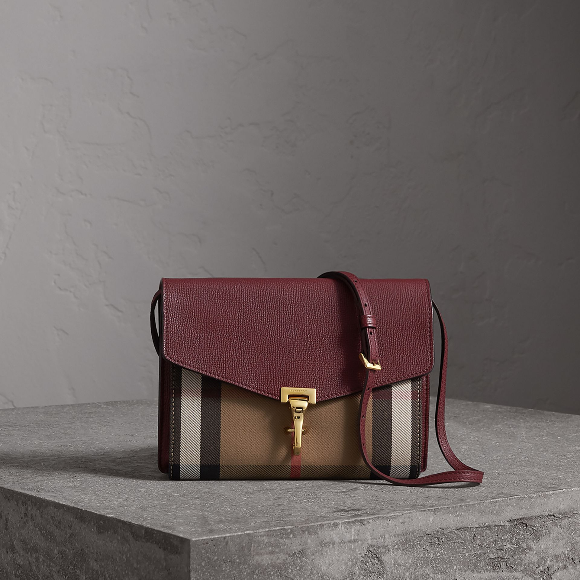 Small Leather and House Check Crossbody Bag in Mahogany Red - Women | Burberry Canada - gallery image 0