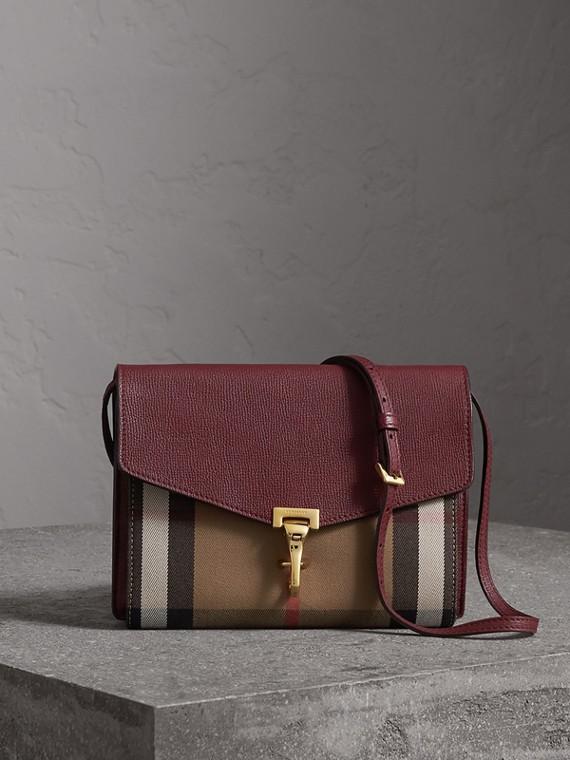 Petit sac à bandoulière en cuir et coton House check (Rouge Acajou)