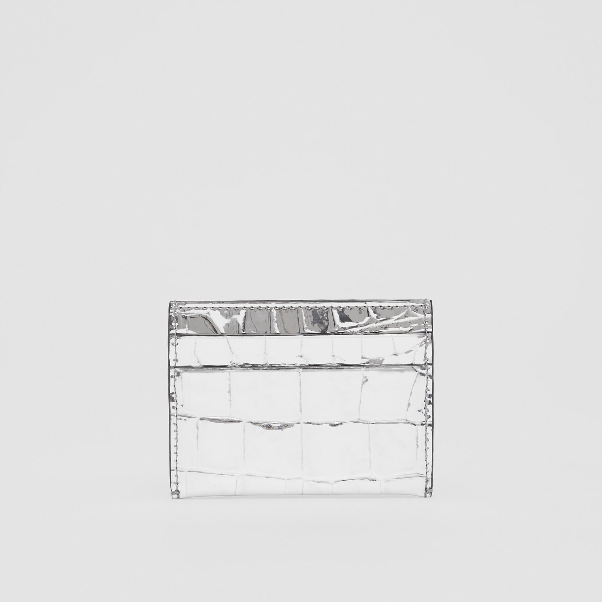 Metallic Embossed Card Case in Silver - Women | Burberry - gallery image 4