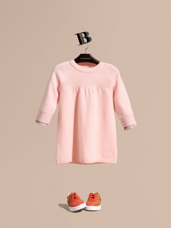 Check Cuff Knitted Cashmere Dress in Blossom