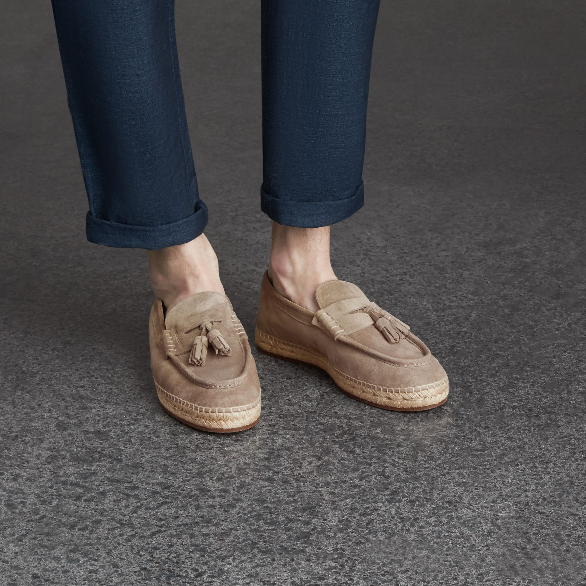 Tasselled Suede Espadrille Loafers in Light Taupe Brown - gallery image 3