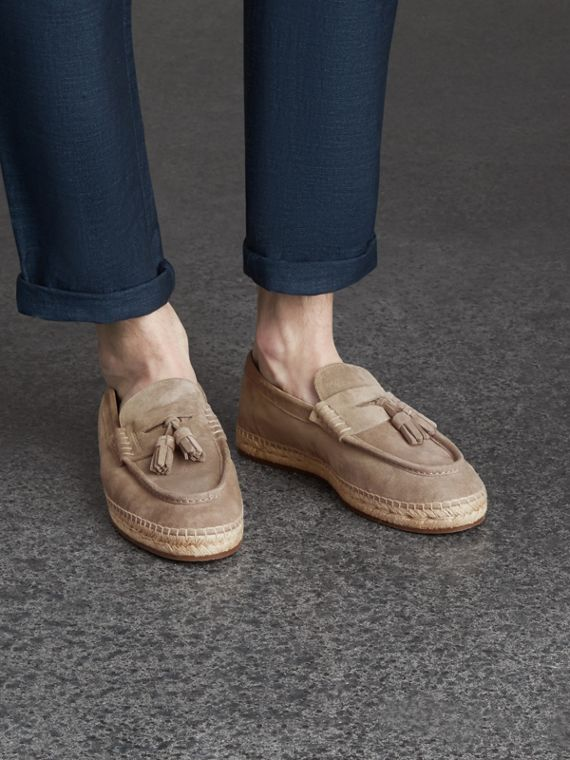 Tasselled Suede Espadrille Loafers in Light Taupe Brown - cell image 2