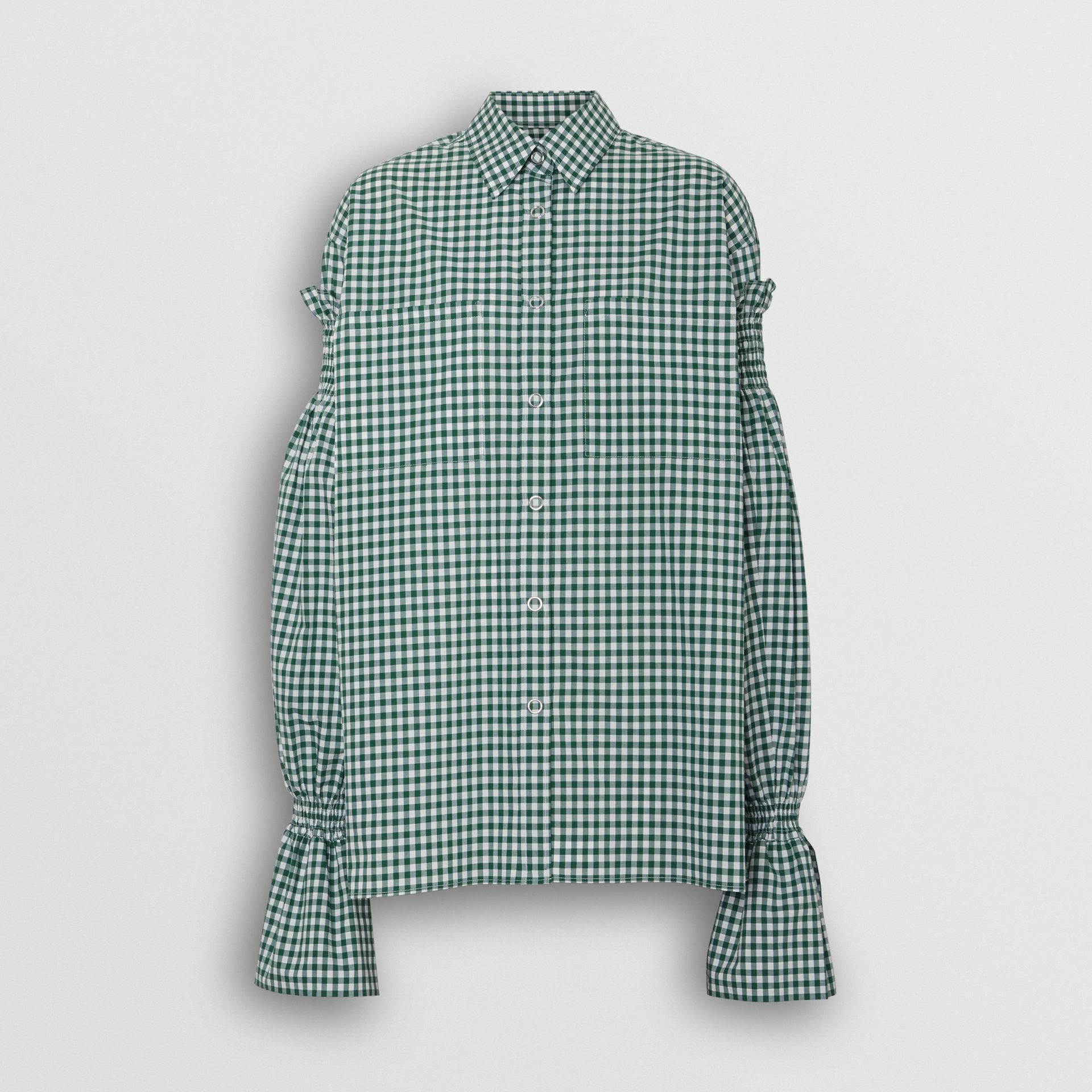 Puff-sleeve Gingham Cotton Shirt in White/green - Women | Burberry - gallery image 3